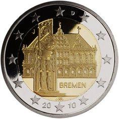 moneda conmemorativa 2 euros Alemania 2010. 5 monedas.
