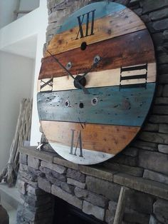 ***NOTE*** When ordering please use the Request Custom Order button This clock is made from an old wooden wire spool. It has been sanded, Industrial Clocks, Rustic Wall Clocks, Wood Clocks, Rustic Walls, Antique Clocks, Wooden Decor, Rustic Decor, Wooden Furniture, Country Furniture