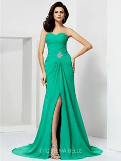 Sheath/Column Sweetheart Chiffon Sleeveless Beading Sweep/Brush Train Dresses - Evening Dresses - Occasion Dresses - QueenaBelle.com