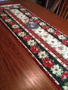 Quilted Table Runner Poinsettia Table Runner by birdsongquilts Table Runner And Placemats, Table Runner Pattern, Quilted Table Runners, Purple Christmas, Coastal Christmas, Christmas Crafts, Scandinavian Christmas, Modern Christmas, Christmas Christmas