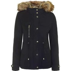 TOPSHOP Jaxson Faux Fur Short Parka featuring polyvore, fashion, clothing, outerwear, coats, navy blue, short parka, faux fur parka, faux fur padded parka, fake fur coats and navy parka