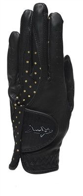 - Cabretta Leather - Synthetic Glove - Superb Feeling and grip - Black With gold dot pattern