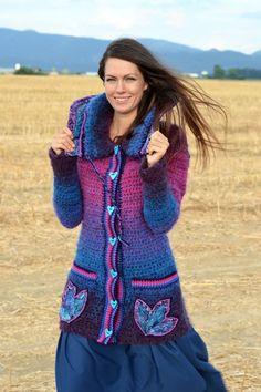 Chorrilho de ideias: Casaco Inverno azul e rosa em crochet