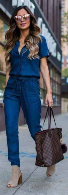 navy jumpsuit. so chic