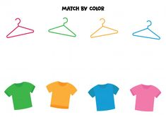 Match t-shirts and hangers by color. Logic Games For Kids, Educational Games For Kids, Preschool Learning Activities, Puzzles For Kids, Worksheets For Kids, Learning Colors For Kids, Kindergarten Interior, Back To School Kids, Numbers For Kids