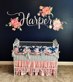 Baby Girl Nursery - Baby Girl Nursery - Girls Crib Set in Blush Pink and Navy, Pink Ruffle Crib Bedding, Baby Girl Bedding for Navy Nursery, Bumperless set with crib rail cover Pink Crib, Baby Girl Crib Bedding, Custom Baby Bedding, Girl Crib Sets, Baby Girl Cribs, Baby Girl Rooms, Baby Crib Sets, Navy Bedding, Floral Bedding