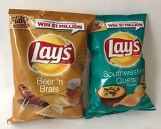 Frito Lays Potato Chips, Beer N Brats and Southwestern Queso Flavor 2.75oz Size #FritoLays