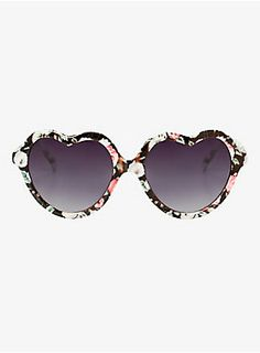 We discovered the way to every girl's heart. Lots of flowers. This pretty pair of multi-colored sunglasses has a floral print frame that makes them totally charming. Smokey grey ombré lenses give a cool finish.<ul><li> 100% UV protection</li><li>Man-made materials</li><li>Imported</li></ul>