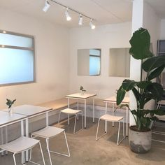 pinterest // @reflxctor café decor with white bar chairs and white tables / decor with green plants #café #decor #plants #furniture