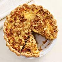 * Caramelized Onion Quiche.  Sooo yummy!  Would also be good for brunch.  We didn't have dijon mustard, so we used whole-grain garlic mustard instead.  It worked fine.  This would also be good with fresh scallions on top or with some bacon mixed in.  1/8 of the pie 294 calories (used skim milk).  Reheat in oven at 350 for 10-15 min.  Also tasty with Frank's Hot Sauce
