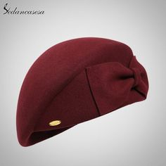 Female England British Australian Wool Felt Beret Hat Women Lady French  Artist Red Black Flat Cap Bow Boina Feminino 6afcdab4b21
