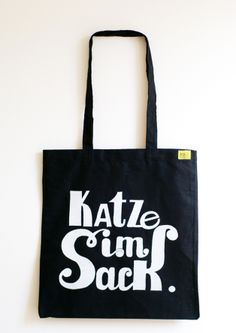 "Jutebeutel mit Innentaschen ""Katze im Sack"" // tote bag by Pukizo via DaWanda.com"