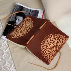 Vetro Stamped Brown Italian Leather Journal with Tie-6x8