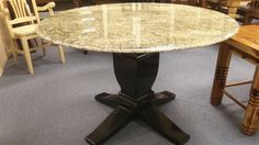 Granite Dining Room Furniture Custom Dining Room  Dining Room Furniture With Round Shaped Granite Top Inspiration Design