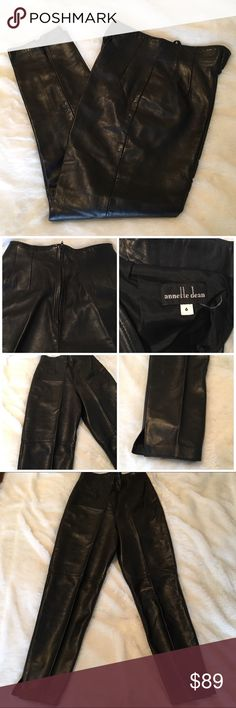 """🆕High Waisted Leather Straight Leg Pants Gorgeous black genuine leather straight leg pants. Super high waisted, back zip, ankle length, very soft and supple leather. In perfect condition. Rise is 14"""", waist at rise is 12"""", inseam is 27"""". No size on label. Purchased at a high in boutique in VA. Fits in the 4/6 range, but I'd go by measurements. Looks amazing with a bodysuit and ankle boots. Fully lined. Amazing quality! ❌NO TRADES❌NO LOWBALLING❌ Annette Dean Pants Straight Leg"""