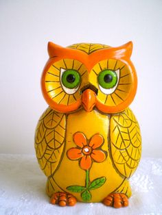 Owl String Holder Vintage Yellow  Scissor by dottirosestudio, $16.95