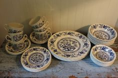 32 pc. Vintage Blue Heritage Enoch Wedgwood (Tunstall) LTD Blue Onion Pattern Dishes Made in England by CottageBlu on Etsy