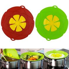 AuSincere 2 X Spill Stopper Lid Cover And Spill Stopper, Boil Over Safeguard,Silicone Spill Stopper Pot Pan Lid Multi-Function Kitchen Tool (Green And Red) Kitchen Inventions, Splatter Guard, Must Have Kitchen Gadgets, Lettuce Wrap Recipes, Fridge Organization, Kitchen Tools, Red Kitchen, Kitchen Dining, Cooking