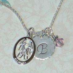 Great June Birthday Gift - Gemini Zodiac Necklace by #DolphinMoonCreations #Gemini #zodiacjewelry #Gemininecklace #etsyjewelry