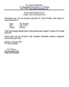 Image result for contoh surat keputusan pengangkatan kepala cabang perusahaan