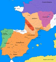 The greatest extent of the Visigothic Kingdom of Toulouse, c. 500 A., showing Territory lost after the Battle of Vouillé against the Merovingian Frankish kingdom A.) in light orange. Historical Art, Historical Pictures, European History, Ancient History, Medieval, Germanic Tribes, Empire Romain, Early Middle Ages, Dark Ages