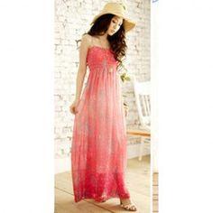 $12.43 Women Boho Floral Chiffon Gradient Maxi Dress