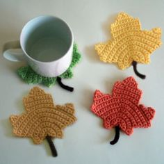crochet maple leaf coasters