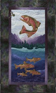 "McKenna Ryan Quilt Patterns | McKenna Ryan ""Calling Me Home"" Early Riser (Block 4) Salmon Fish Trout ..."