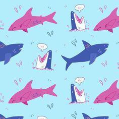 Really really quick sharky pattern for this prompt: #underwater   Which shark is ur fav ?? 🦈    #repeatpattern #inktober #inktober2017 #sharks #jaws #pink #blue #cute #digitalillustration #illustratiom #sea #fish