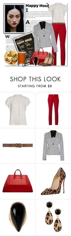"""""""Bottoms Up: Happy Hour_Drinks All Around"""" by msmith801 ❤ liked on Polyvore featuring River Island, Gucci, Dorothy Perkins, Armani Jeans, Diane Von Furstenberg, Rachael Ray and LSA International"""