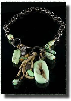"""Key Lime,"" A spectacular focal point of chrysoprase with tiny crystals, to adorn those who are seeking knowledge of the energy centers in the body. Sterling Silver, Chrysoprase with Drusy Quartz, Herkimer Diamond, Chrysoprase, Antique African Trace Beads, Rainbow Drusy Pyrite, 24K Gold Vermeil, Ancient Celtic Money Ring by Allison Bellows ..."