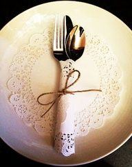 Use a doily as a silverware wrap!  Or make your own doily with your Cricut!