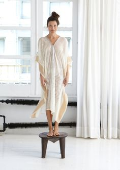 """THE SAIRA CAFTAN IS A GAUZY, ELEGANT LONG CAFTAN WITH HANDWOVEN EMBROIDERY AND A SILK NECKLINE. PERFECT FOR A SUMMER SOIREE OR EVEN A BEACH WEDDING.. ONE SIZE FITS ALL, AVAILABLE IN 49""""  EMAIL FOR AVAILABILITY, FROM $360-390"""
