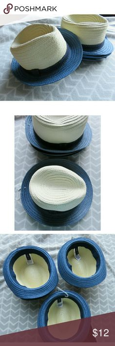 NWT GAP Kids Fedora Hats Straw Short Brimmed Gift New with tags/never worn boy's straw fedora hats. Multiple sizes available! Great for school pictures and family photos. Classic short brimmed hat Fedora style in light colored/natural straw with medium blue brim and blue band around. Sizes/quantities: 2 Extra Small/Small; 1 Small/Medium. Bundle with my other men's/women's items or kids/baby clothes :-) Please ask any questions before buying. Makes a great Christmas gift! Smoke/pet free…