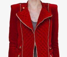 @BALMAIN Women's Red Velvet Quilt Stitch Jacket