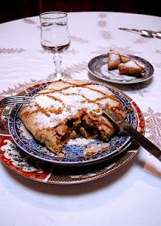 1'Pastilla is one of the most popular Moroccan dishes, it's a spicy, savory, sweet Moroccan chicken pie, composed of many buttery thin layers of pastry, enclosing eggs, chicken, almonds, topped with cinnamon and powdered sugar. It combines sweet and salty flavors.  Pastilla can be made with chicken, pigeons or seafood