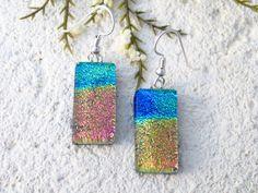 Petite Earrings, OOAK Handmade Rainbow Earrings, Dichroic Earrings, Dangle Drop Earrings, Sterling Silver Earrings, ccvalenzo, 031230e102