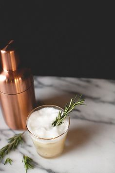 the pear spice flip - gin, rosemary, clove and pear.