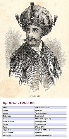 Sultan Haider Ali Father of Tipu Sultan, showing the Geneology of Tipu Sultan, India. Hyder Ali, Great Warriors, Second Wife, Evolution Of Fashion, Mughal Empire, Folk Embroidery, Mysore, Blue Bloods, Hinduism