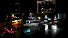 PANORAMIC ROOM a multimedia installation where everyday objects from the Vintage stratosphere are mixed with new technologies giving them a new meaning. A surreal living room that suprised the Optimus Clubbing audience.