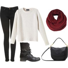white sweater with black pants, a red scarf, black combat boots, and a black bag. Perfect school outfit for the fall/winter