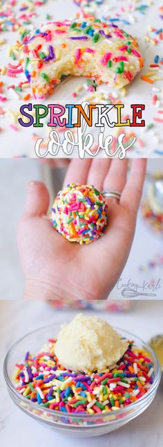 Sprinkle Cookies are a fun, happy sugar cookie that will be everyone's favorite! The sugar cookie dough comes together quickly, no refrigeration required! The cookie dough is rolled in sprinkles which make these cookies outrageous in the best way possible! |Cooking with Karli| #sprinkles #cookie #sugarcookie #festive #party #dessert #recipe #birthday