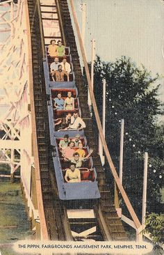 """The """"Pippin"""" Wooden Rollercoaster, Memphis, Tennessee - now located in Green Bay Wisconsin, it's a blast!!!!!"""