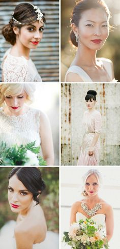 20 Glamorous Red Lipstick Brides | SouthBound Bride | http://www.southboundbride.com/glamorous-red-lip-bridal-style