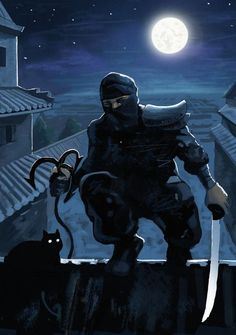m Rogue Assassin Leather Armor Mask Grapple Hook Shortsword Poison male Night full moon stars Ninja urban City rooftop black cat lg Arte Ninja, Ninja Art, Katana, Guerrero Ninja, Ninja Japan, Ghost Of Tsushima, Japanese Warrior, Shadow Warrior, Ninja Warrior