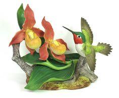 Hummingbird Figurine Andrea by Sedek Bird Lady Slippers Porcelain 1986 MicheleACaron on Etsy, $85.00