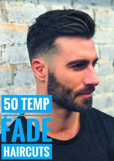 Check out the freshest temp fade haircut trends for men ranging from afro box fades, to mohawk temp fades, crew cuts with line ups, and many more! Fade Haircut With Beard, Temp Fade Haircut, Boys Fade Haircut, Short Fade Haircut, Taper Fade Haircut, Beard Haircut, Beard Fade, Mens Hairstyles Pompadour, Pompadour Fade