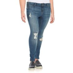 Jessica Simpson Plus Plus Kiss Me Super Skinny Jeans ($69) ❤ liked on Polyvore featuring plus size women's fashion, plus size clothing, plus size jeans, blue, jessica simpson jeans, zipper jeans, skinny fit jeans, button-fly jeans and distressed denim jeans