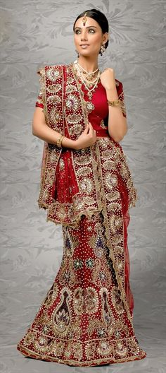 65761, Wedding Lehngas, Net, Zardozi, Machine Embroidery, Cut Dana, Stone, Valvet, Patch, Bugle Beads, Red and Maroon Color Family
