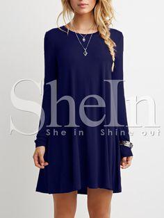 Blue Long Sleeve Casual Dress 13.99